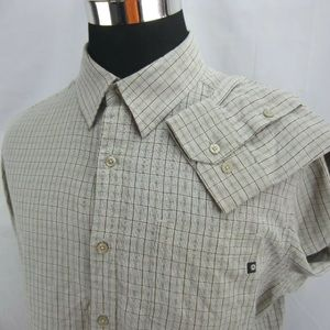 Mens Sz XL MARMOT Button Down Shirt Green Tan